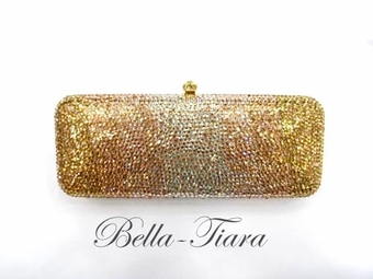 Gold Crystal champagne Gradual  effect Evening purse clutch bag - SALE