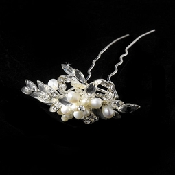 GORGEOUS Freshwater Pearl crystal Hair Pin - SALE