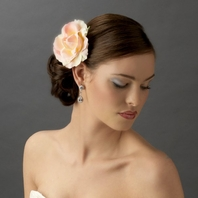 Gorgeous pink or off- white bridal Rose hair flower
