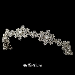 Gorgeous Ribbon Headband with Silver Clear Rhinestones