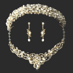 Hazel - STUNNING Freshwater Pearl headband and necklace set
