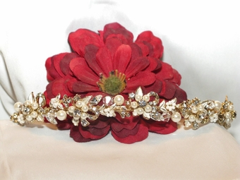 Heirloom-Josephine Elegant Gold vine Bridal Pearl Tiara