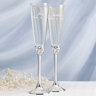 Hot!! Romantic Dreams Come True flutes and server set - SAVE!!