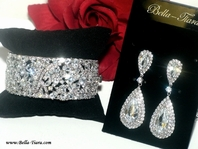 IRANA - Royal Collection CZ wedding drop earrings with bracelet - SALE