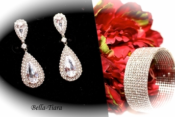 Irana - Royal Collection high end bridal earrings and bracelet set - SALE