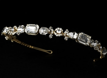 Iris - Stunning light gold rhinestone crystal wedding headband - SALE