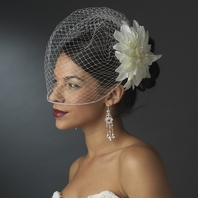 Isadora - Romantic off white flower w/ rhinestone cage veil - SALE!!