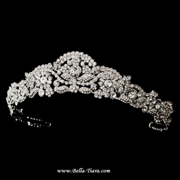 Italia - Royal Collection antique silver swarovski crystal wedding tiara - SPECIAL one left