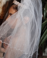 ITALIAN collection - Elegant two tier filament edge with pearls communion veil
