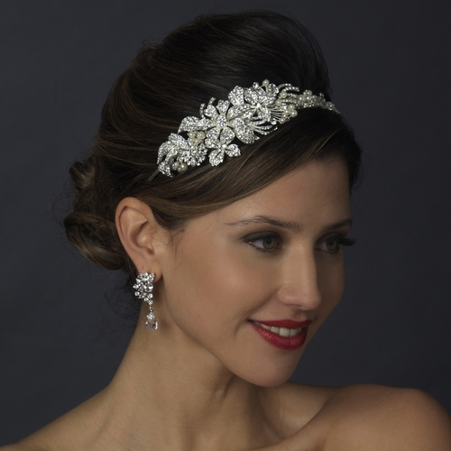 Italian Collection - STUNNING swarovski crystal and pearl side headband -  SALE 7ff8c4df389