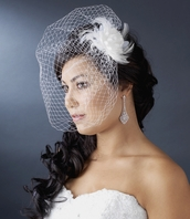 Ivory Feather Wedding Hair Flower with Cage Veil
