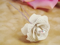 Ivory Glitter Crystal Rose Bridal Hair Pin