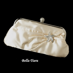Ivory Satin Crystal Evening Bag with Silver Clear Beach Starfish Brooch
