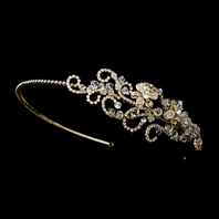 Janelle - Elegant Swarovski crystal rhinestone gold wedding headband - SALE