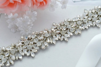 Jasmine  Stunning crystal bridal sash all around - SALE