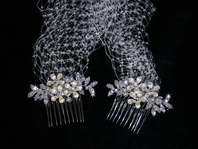 Jerrica - Romantic ivory crystals combs with cage veil - SALE