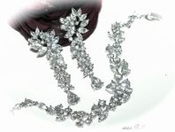 Jimena -  SPECTACULAR high end CZ earrings  and bracelet set - SALE