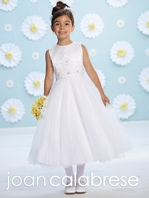Joan Calabrese-116390 -Tulle A-line beaded communion dress - FREE VEIL