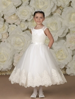 Joan Calabrese designer first communion dress - 19328 - SIZE 7 ready to ship -- FREE VEIL