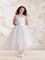Joan Calabrese tulle and lace communion dress 115304-Size 7, 8 READY TO SHIP -  FREE VEIL