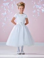 Joan Calabrese scalloped beaded communion dress 117363 -- FREE VEIL