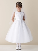 Joan Calabrese tulle and lace Communion Dress 110325 - FREE VEIL