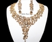 June - Light Gold Crystal Statement Necklace Jewelry set
