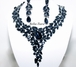 June - SPECTACULAR navy blue crystal statement necklace