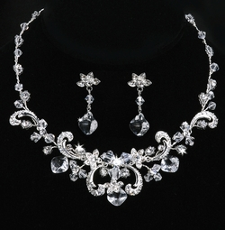 Keira - Rhinestone Scrolls Bridal Jewelry Set - SALE