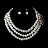 Khloe - Glamorous triple row white pearl bridal necklace set - SPECIAL!!!
