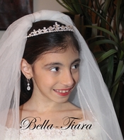 Italian Collection Kiara - Lovely rhinestone communion headpiece and veil - SPECIAL -sold out