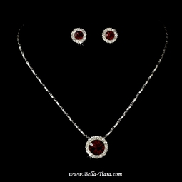 Lacey - Dazzling red crystal rhinstone bridesmaids necklace set - QUANTITY DISCOUNT