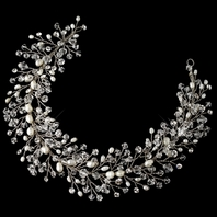 Lania- GORGEOUS Swarovski crystal hair vine with pearls - sale
