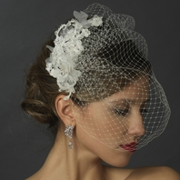 Laretta - Gorgeous vintage lace hair clip with cage veil - SALE