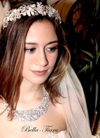 Laura set - Royal collection headpiece, CZ necklace, and veil rental