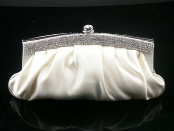 Layla - NEW!! Elegant silk ivory or white with crystals wedding purse - SPECIAL
