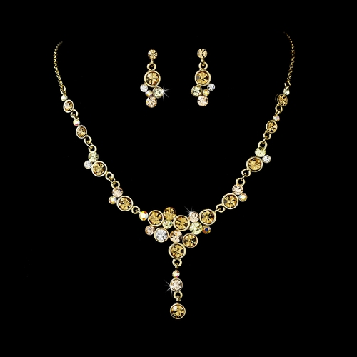 Leilani Beautiful Gold Plated Clear Necklace Set