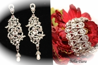 Liliana - LUXURIOUS collection - vintage chandelier pearl drop earrings and bracelet set - SALE