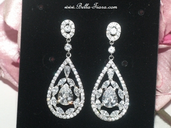 Lillian - Romantic vintage CZ wedding earrings - SPECIAL one left