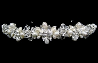 Linda - Crystal and Creamy Ivory Freshwater Pearl Headband