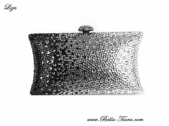 Liza - Couture black and clear swarovski crystal evening purse - SPECIAL