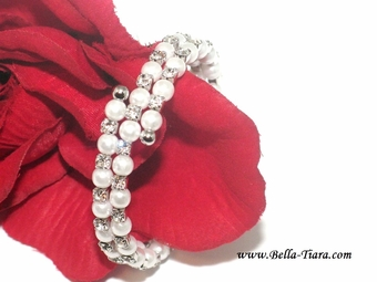 Lola - Classic beauty pearl and CZ wedding bracelet - SALE