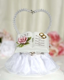 Love Verse Bible Cake Topper With Pearl Heart