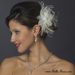 Lovely - Crystal & Freshwater Pearl Feather Bridal Flower - SPECIAL