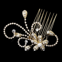 LOVELY GOLD swirl rhinestone hair comb - sale