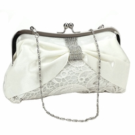 Lovely Light Ivory Lace Bridal Purse With Crystal Clasp