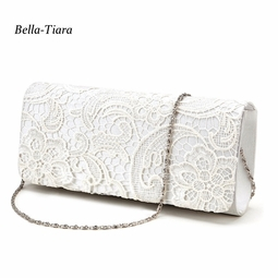 Lovely - Off white lace wedding clutch purse