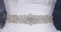 Lulu - Dazzling wide all around crystal beaded wedding sash - SPECIAL