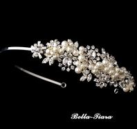Luxurious Collection - Pearl and crystal wedding side headband - SALE