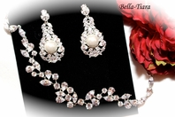 Luxurious - CZ bridal earrings with pearl and bracelet set - SALE